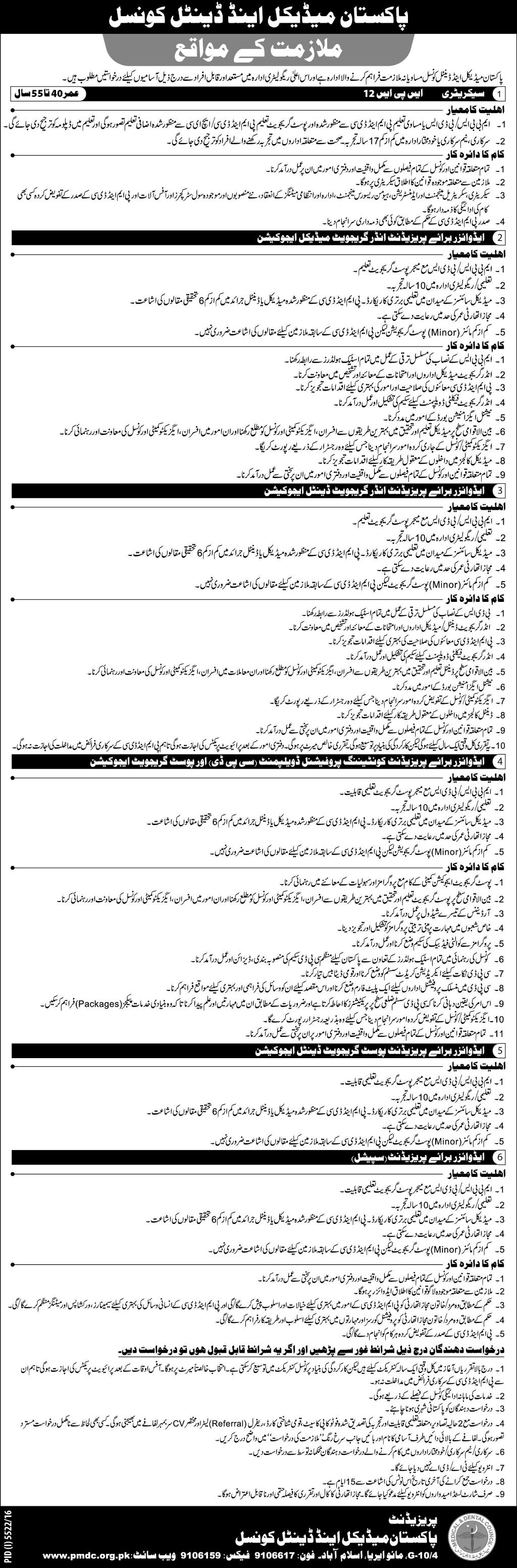 Pakistan Medical and Dental Council Islamabad Jobs PMDC Jobs