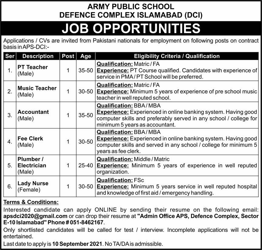 APS Teaching Jobs 2021 for APS Defence Complex Islamabad