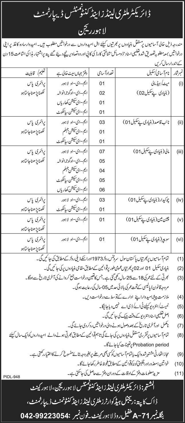 Military Land & Cantonments Department Lahore Region Vacancies
