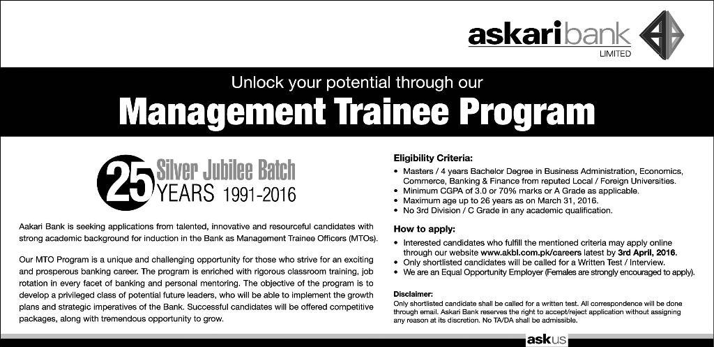Askari Bank Jobs 2016 Apply Online