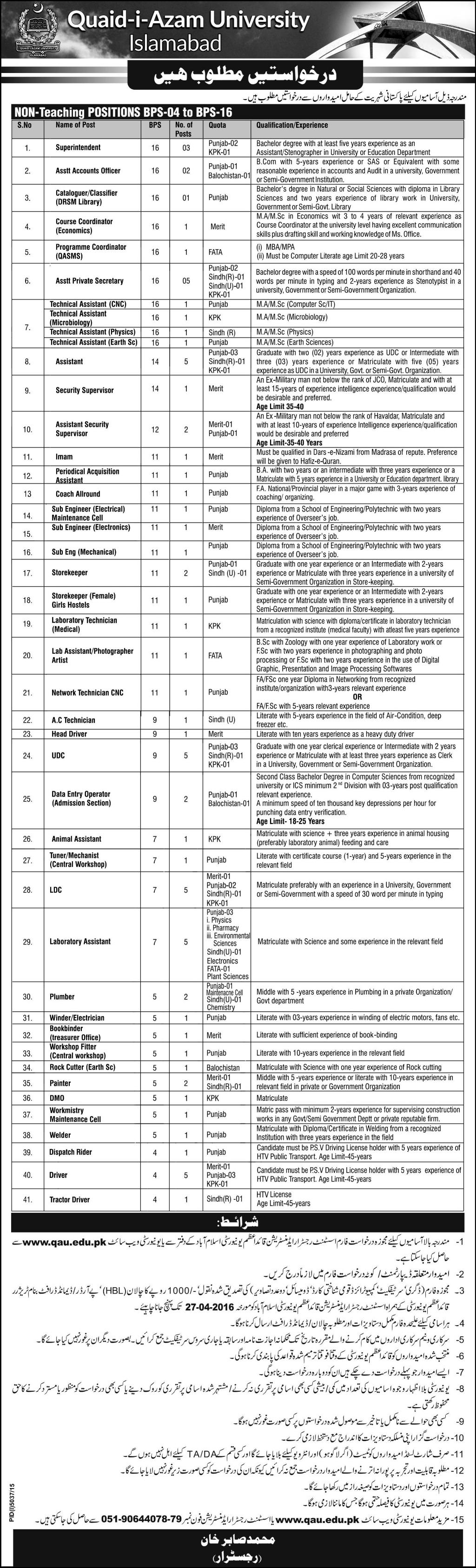 QUA Jobs 2016 Quaid i Azam University Islamabad