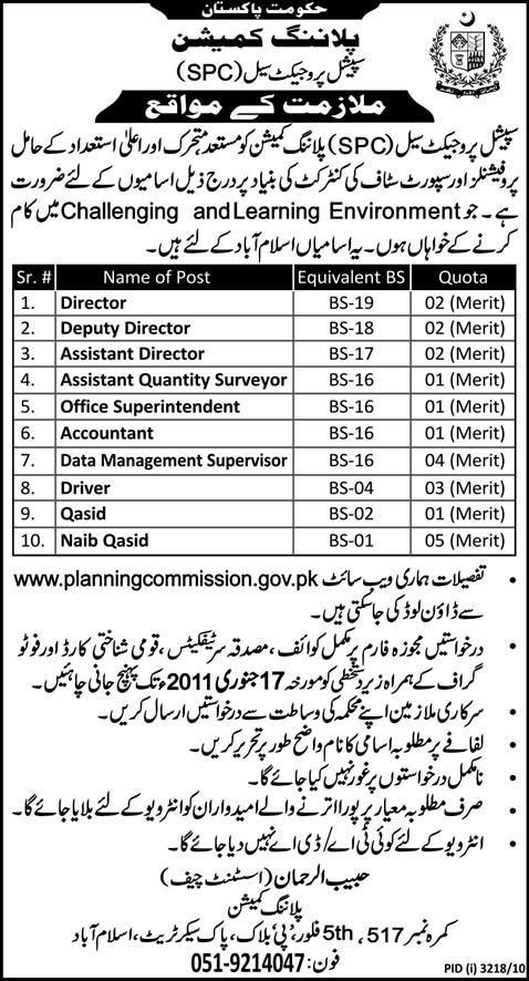 Career Opportunities in Planning Commission of Pakistan
