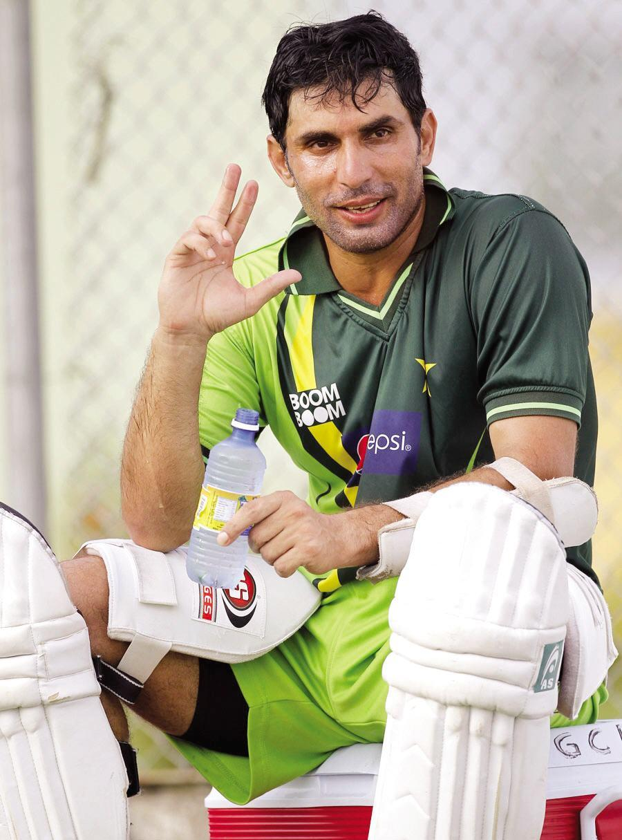 Misbah Ul Haq Makes Sign of Victory Before Test Match With West Indies