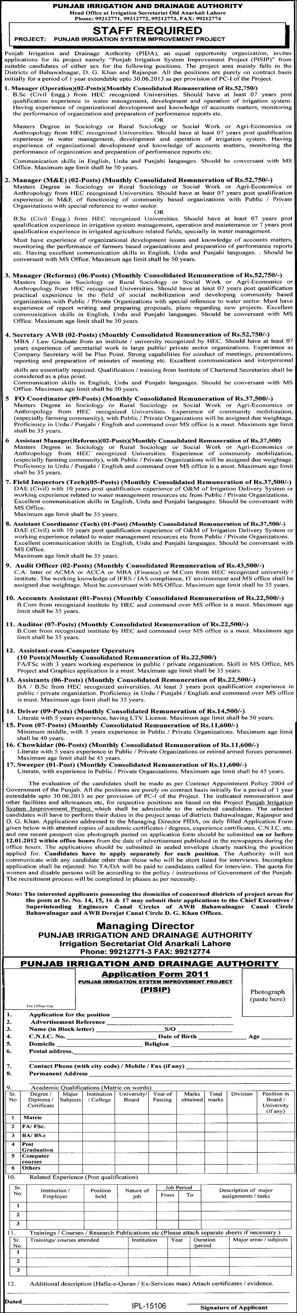 1101409687 1 Latest Jobs in Punjab Irrigation and Drainage Authority