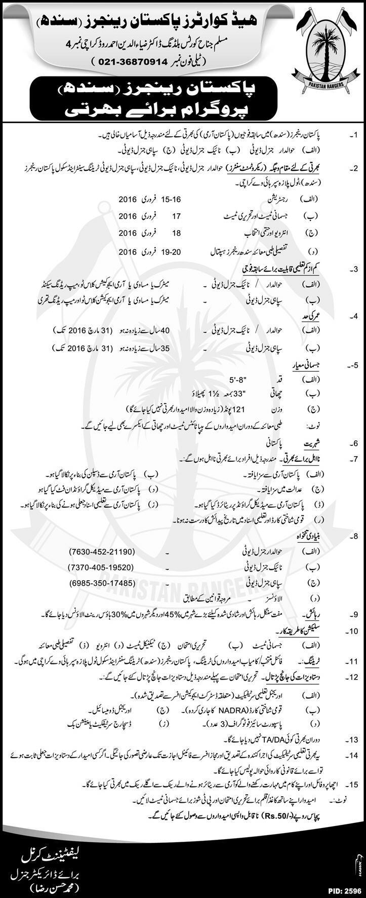 Pakistan Rangers Induction Program Jobs Sindh 2016 Latest