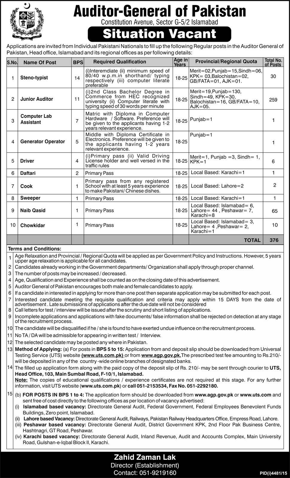 Auditor General Of Pakistan Jobs 2016 Junior Auditors & Others Application Form Apply Job