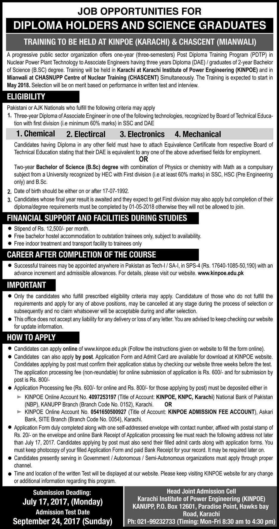 Pakistan Atomic Energy Commission Jobs July 2017