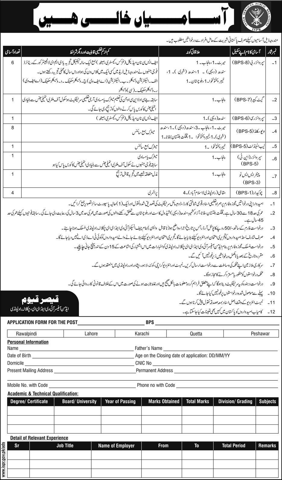 Pakistan Army Civilian Jobs 2017