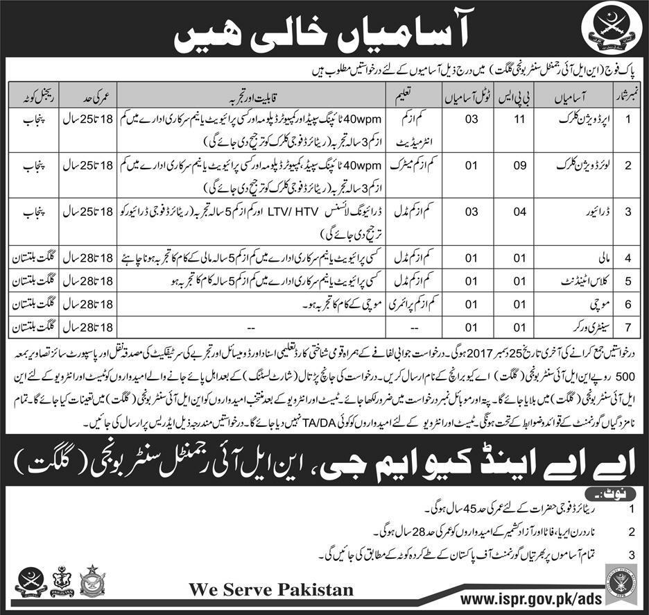 Northern Light Infantry (NLI) Centre Bunji Gilgit Jobs