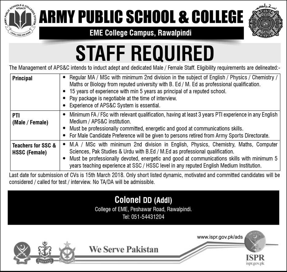 Army Public School Rawalpindi Teaching Jobs 2018