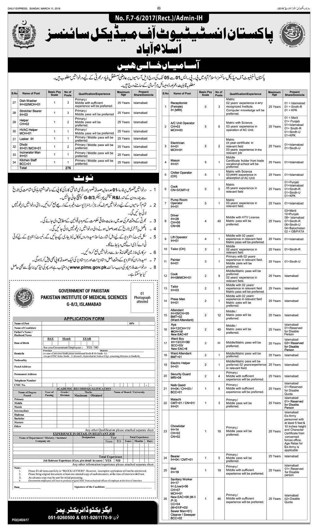 Pakistan institute of medical sciences jobs 2018