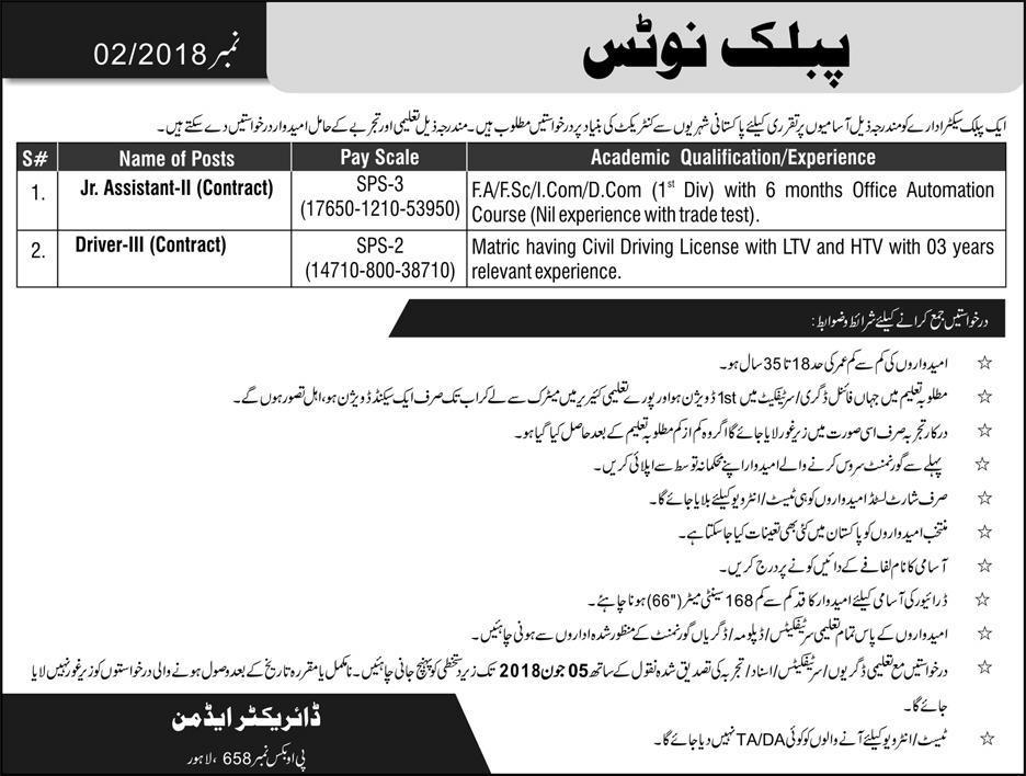 PO Box 658 Lahore Jobs 2018