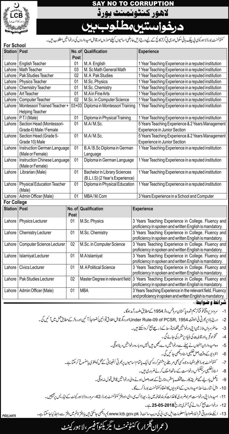 Teaching Jobs Lahore Cantonment Board 2018