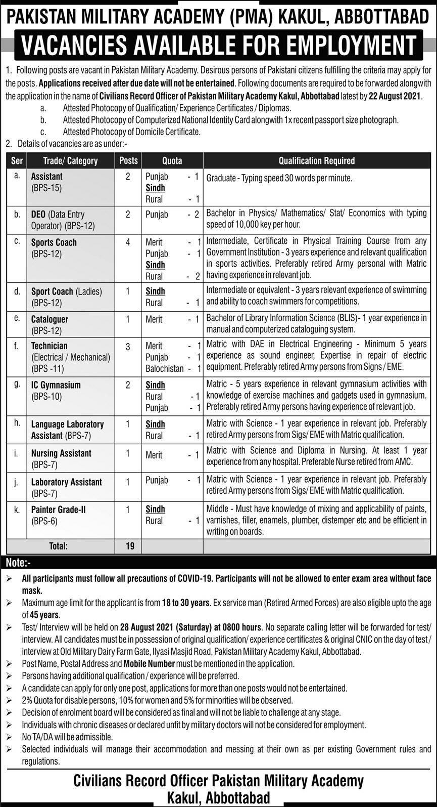 PMA Kakul Jobs 2021