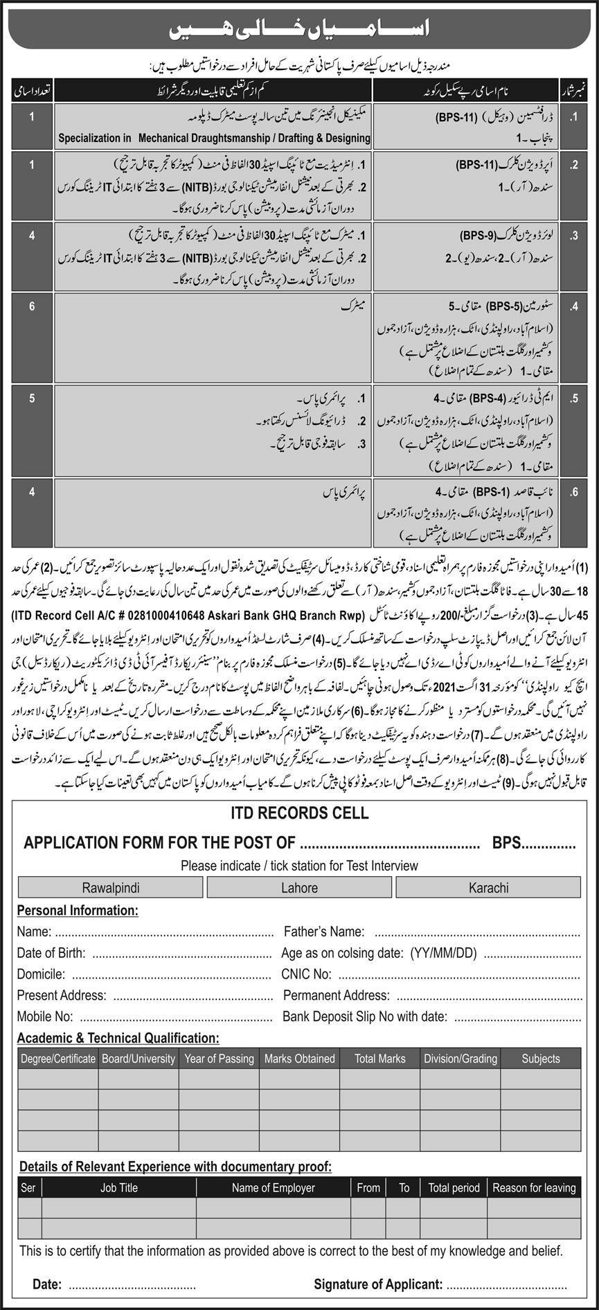 Pakistan Army GHQ Jobs Latest 2021