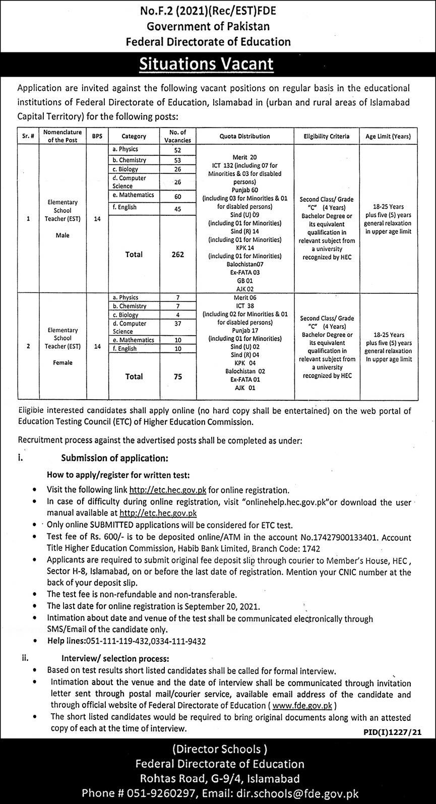Federal Directorate of Education Jobs 2021