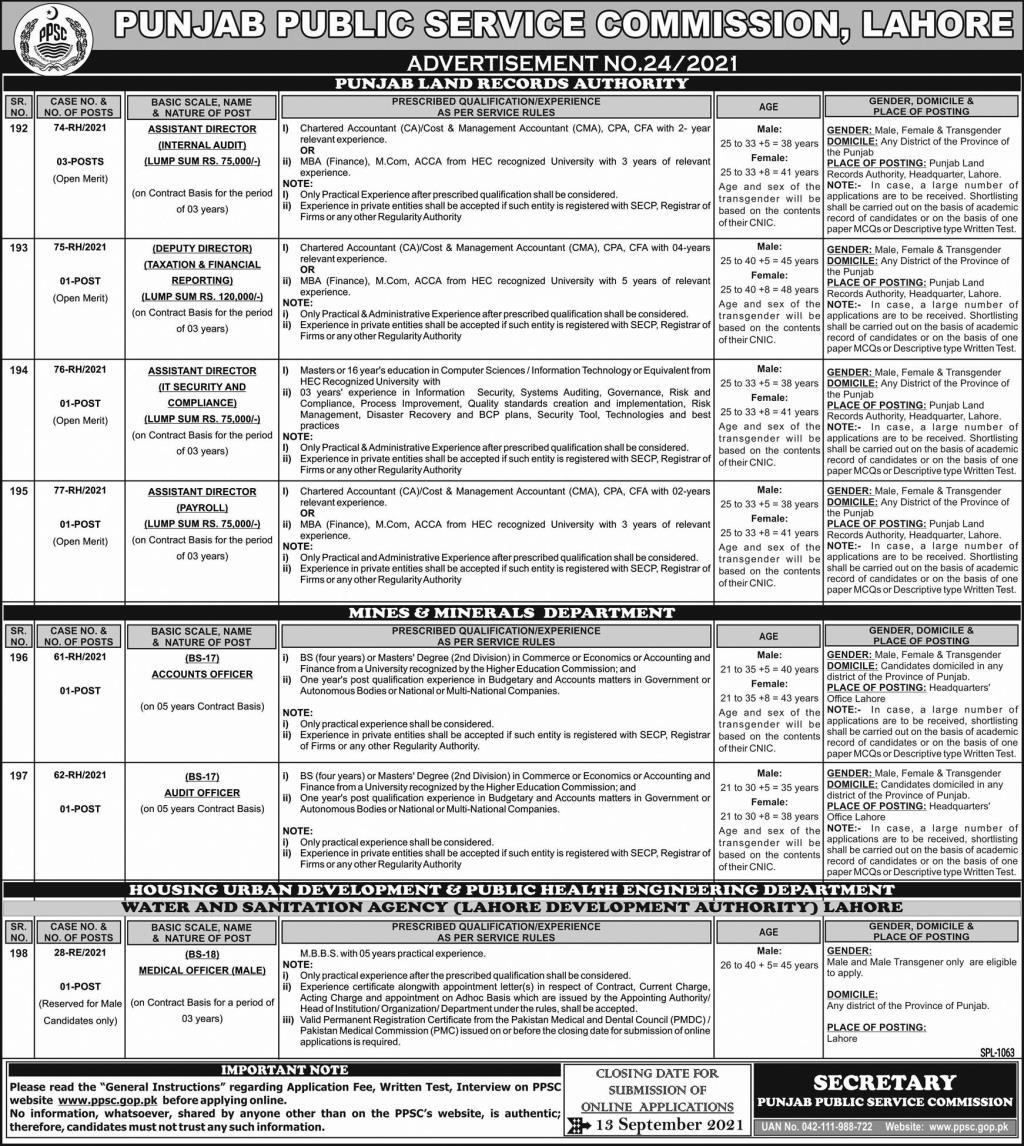 PPSC Jobs 2021 Advertisement 24/2021 – Apply Online 2