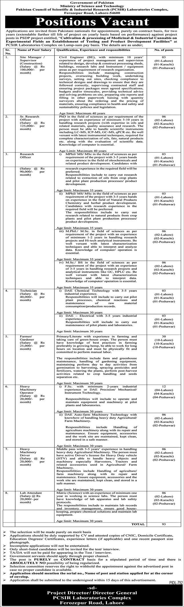 Ministry of Science and Technology Jobs 2021 in PCSIR