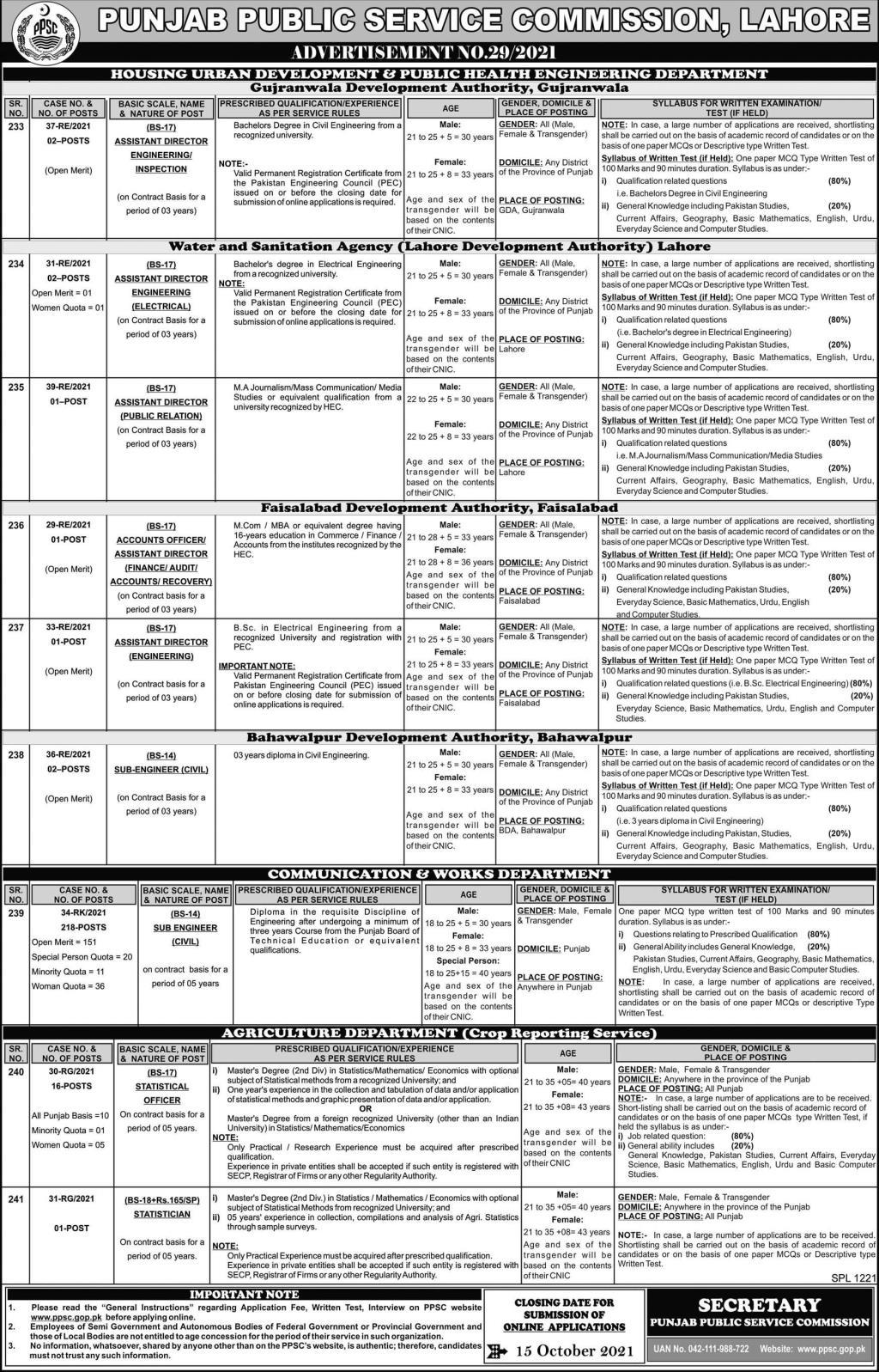 PPSC Jobs 2021 Advertisement 29/2021